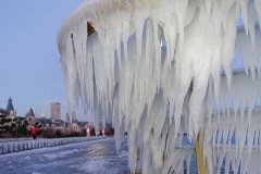Icicles seen after snowfall on seashore in Dalian